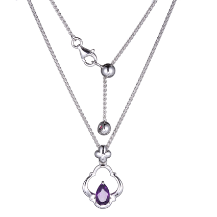 ELLE Amethyst and Sterling Silver Necklace