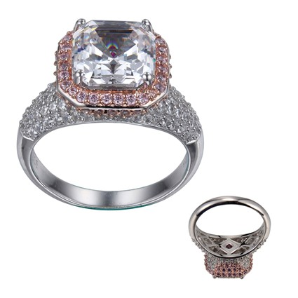 ELLE Asscher CZ and Pink and Clear CZ Ring