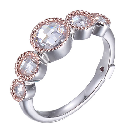 ELLE 5 Stone Rose gold plated and Sterling Silver and CZ Ring