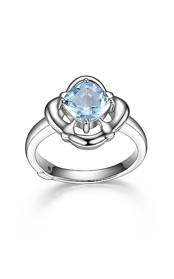 ELLE Swiss Blue Topaz and Sterling Silver Ring