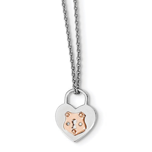 Sterling Silver Heart Lock Necklace