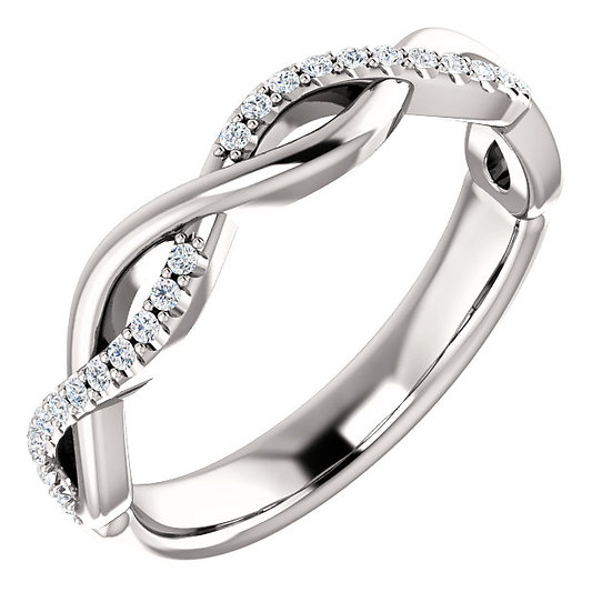 14k White Gold Diamond Twist Band