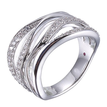 ELLE Sterling Silver and CZ Multi-twist Band