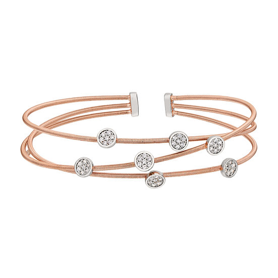 Bella Cavo Rose Gold Plated Flexible Simulated Diamond Bracelet