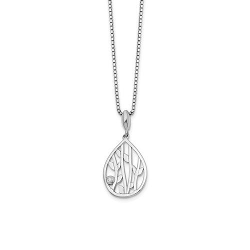 Sterling Silver and Diamond Nature Pendant