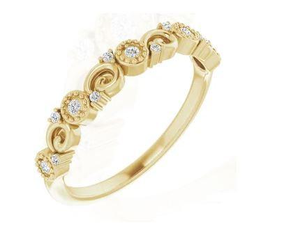 14k Yellow Gold and Diamond Ring / Band