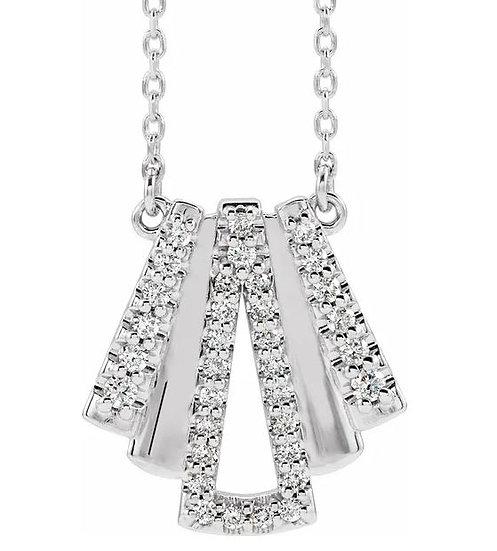 14k White Gold Art Deco-Inspired Diamond Necklace