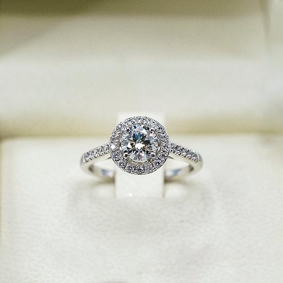 14k White Gold Lab Grown Diamond Halo Engagement ring