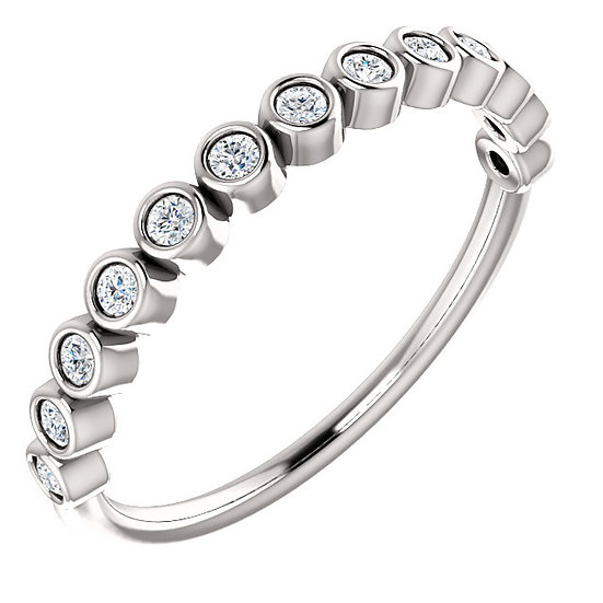 14k White Gold Diamond Bubble Stackable Band