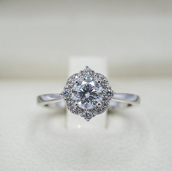 14K White Gold Vintage-Inspired Unique Halo Moissanite and Diamond Engagement