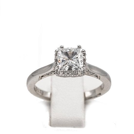 Tacori Princess Halo Engagement Ring Style: 2620PRMDW