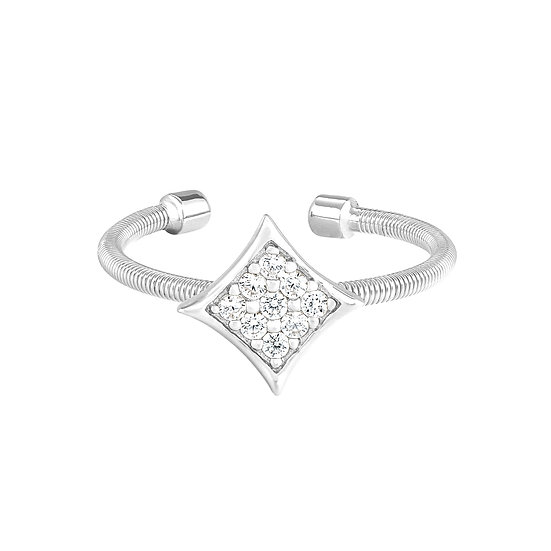 Bella Cavo Adjustable Diamond Shape Sterling Silver Ring