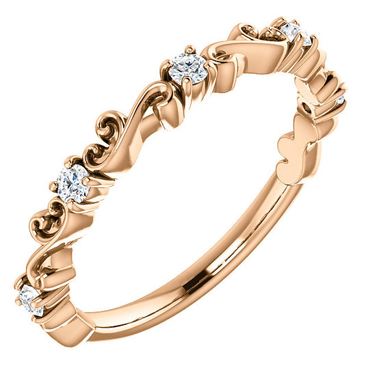 14k Rose Gold Diamond and Scroll Stackable Band