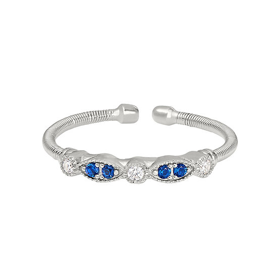 Bella Cavo Simulated Diamond and Sapphire Adjustable Sterling Silver Ring