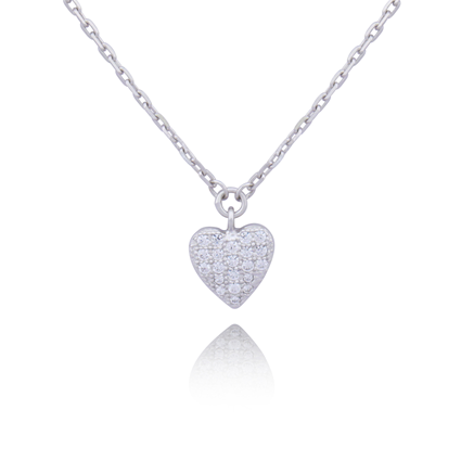 ELLE Heart Sterling Silver and CZ Necklace