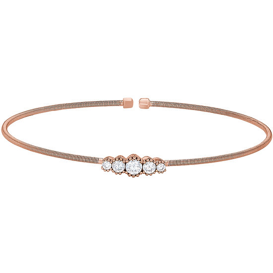 Bella Cavo Rose Plated 5 Stone Flexible Bracelet