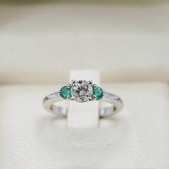 14k White Gold Diamond and Emerald 3 stone engagement ring
