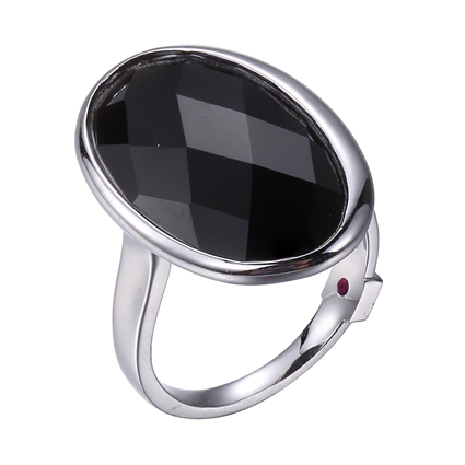 ELLE Obsidian and Sterling Silver Ring