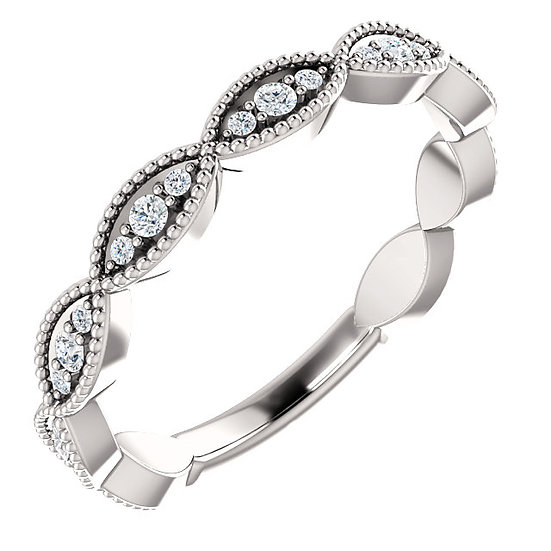 14k White Gold Diamond Vintage Band
