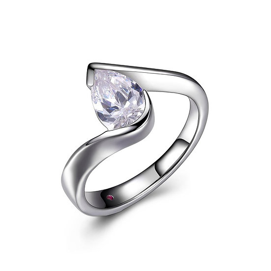 ELLE Sterling Silver and Pear CZ Bypass Ring