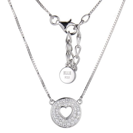ELLE Open Heart Sterling Silver and CZ Necklace