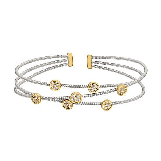 Bella Cavo Two Tone Flexible Simulated Diamond Bracelet