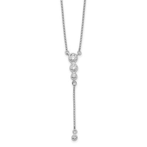 14k White Gold Lab Grown Diamond Drop Necklace