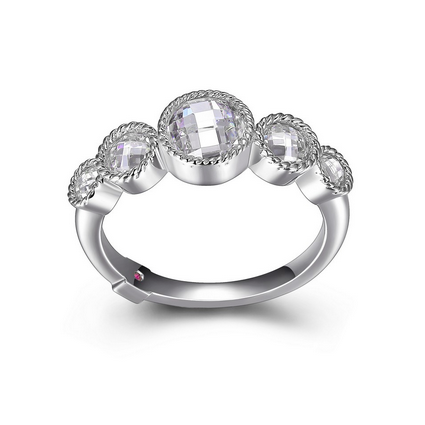 ELLE 5 Stone Sterling Silver and CZ Ring