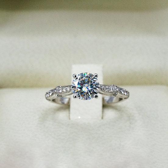 14k White Gold Vintage-Inspired Moissanite and Diamond Engagement ring
