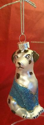 Christmas Tree Ornament - Silver Brown Dog
