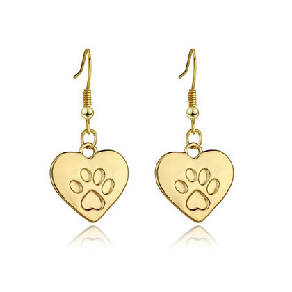 Hearts and Paws Gold Coloured Earrings