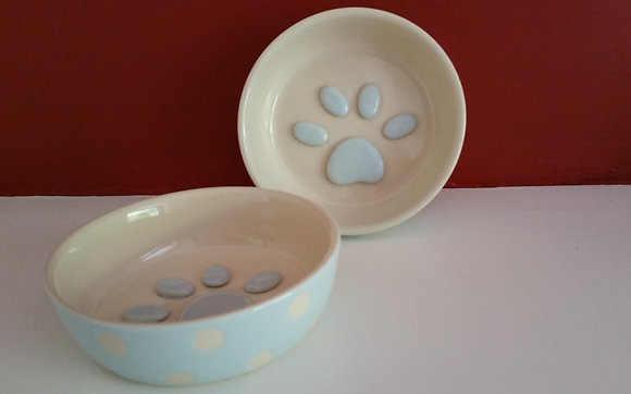 Paw Print Small Ceramic Dinner Bowl