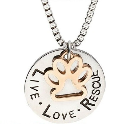 Hearts and Paws Live Love Rescue Necklace