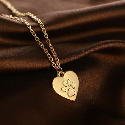 Hearts and Paws Gold Coloured Necklace