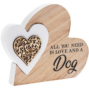 All You Need ... Double Heart Standing Plaque