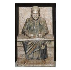 156 Altorilievo raffigurante Virgilio seduto in atto di scrivere
