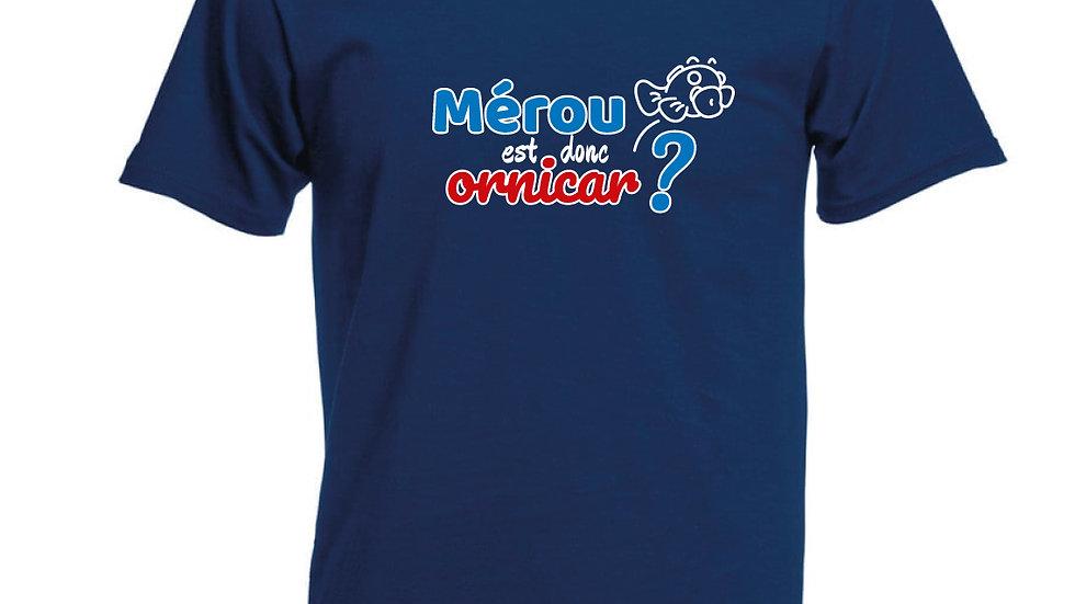 """T-shirt """"Mérou est donc ornicar?"""" Blu navy"""