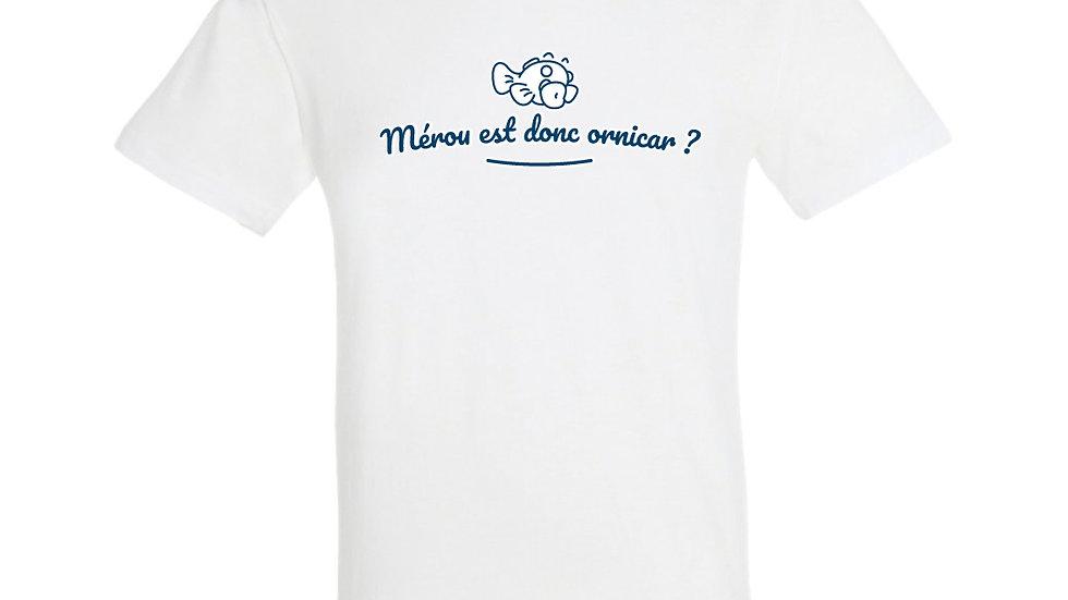 "T-shirt ""Mérou est donc ornicar ?"" - Bleu/Vert"