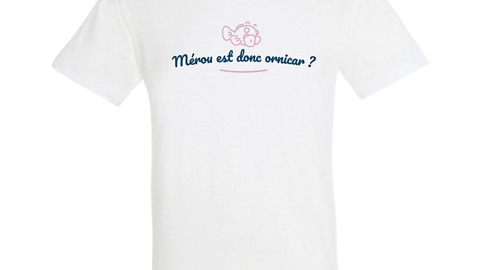 """T-shirt """"Mérou est donc ornicar?"""" Blu e rosa"""