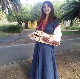 Playing Hurdy Gurdy at Blacktown Medieval Festival