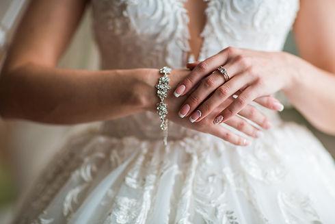 Bride arms with wedding nails ,diamond r
