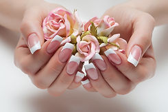 delicate French manicure with a rose in