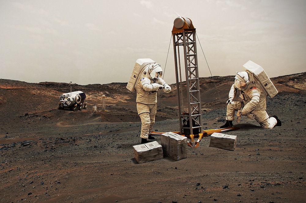 Ilustração de astronautas em Marte