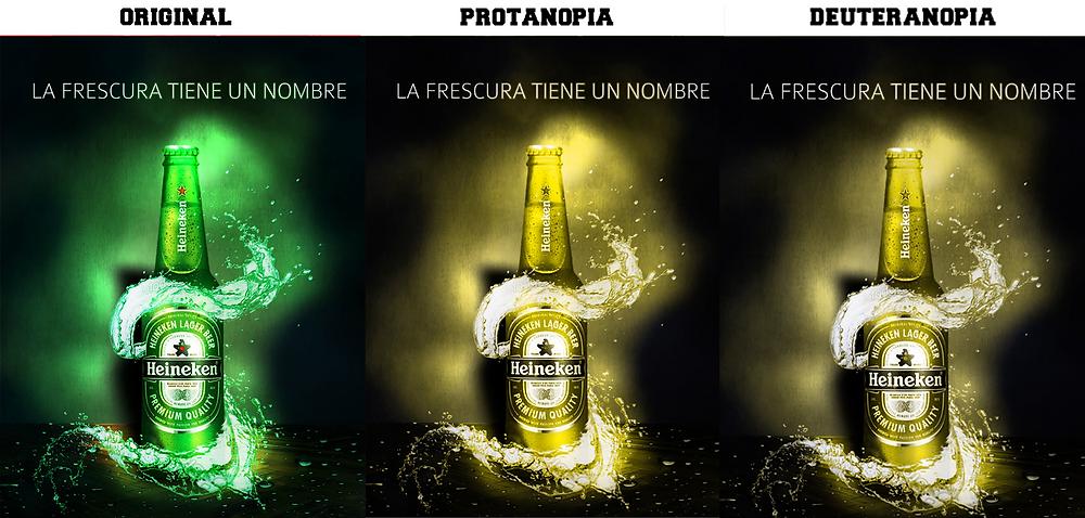 Afiche de Heineken con comprobación de color