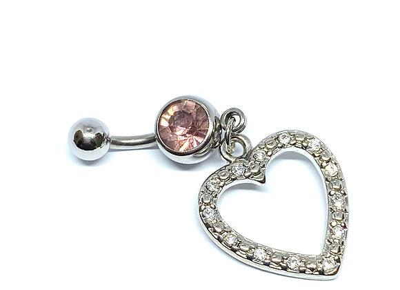 Navel 14g Pink Crystal Stud Heart - 6mm