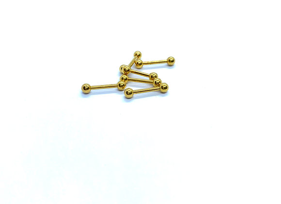 16g Barbell  316 Steel Gold Color 8mm