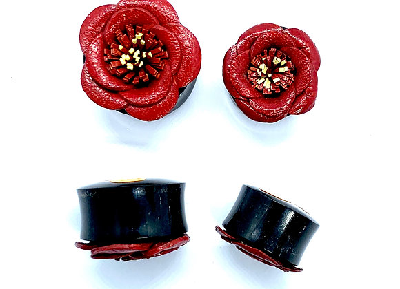 Organic Wood Plug with Red Leather Rose