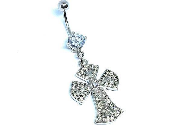 Navel 14g Crystal Gothic Cross