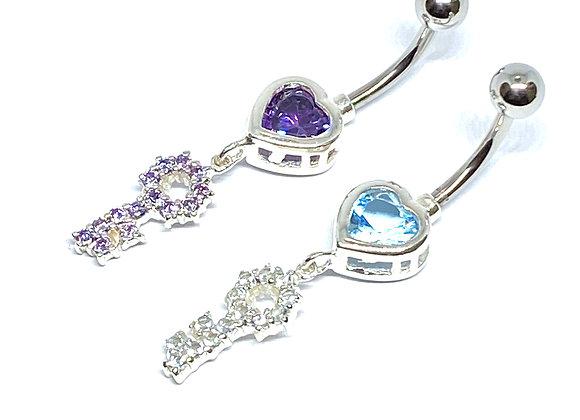 Navel 14g Crystal Heart & Key