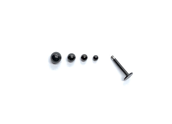 14g Stainless Steel Black Replacement Ball